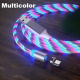 Led Light Magnetic Charger Cable Flowing 2.4A Fast Charging Magnet Micro USB Type C Lightning Cable For iPhone Type-C Micro USB