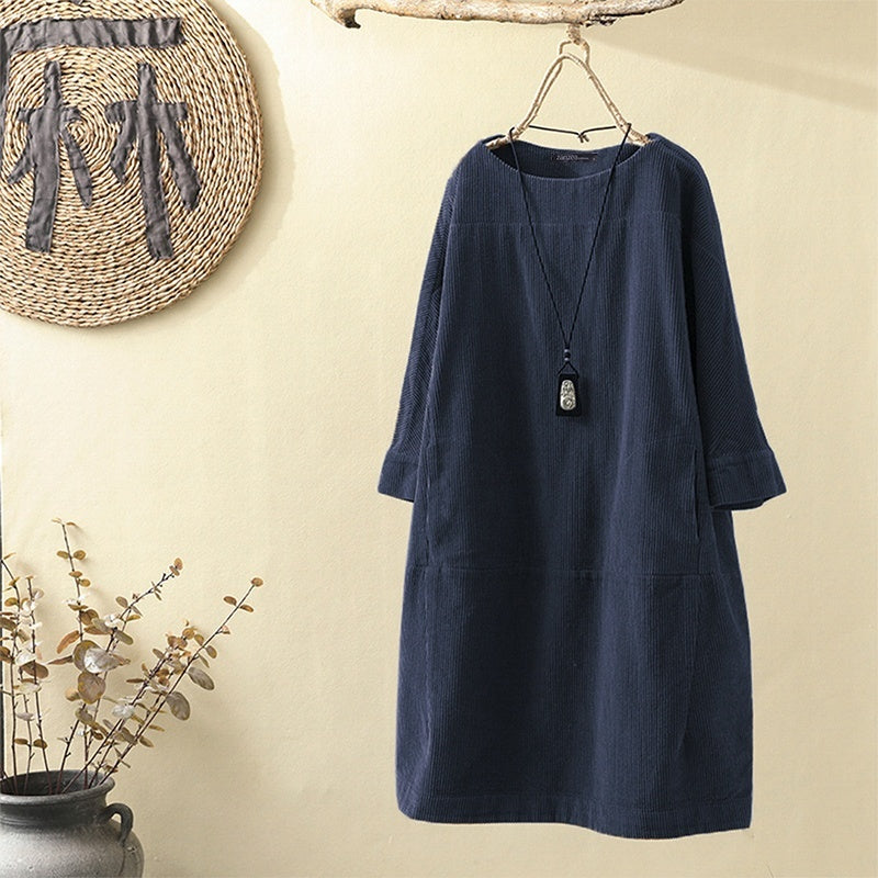 ZANZEA Women Vintage Long Sleeve Corduroy Dress Ladies Casual Long Tops