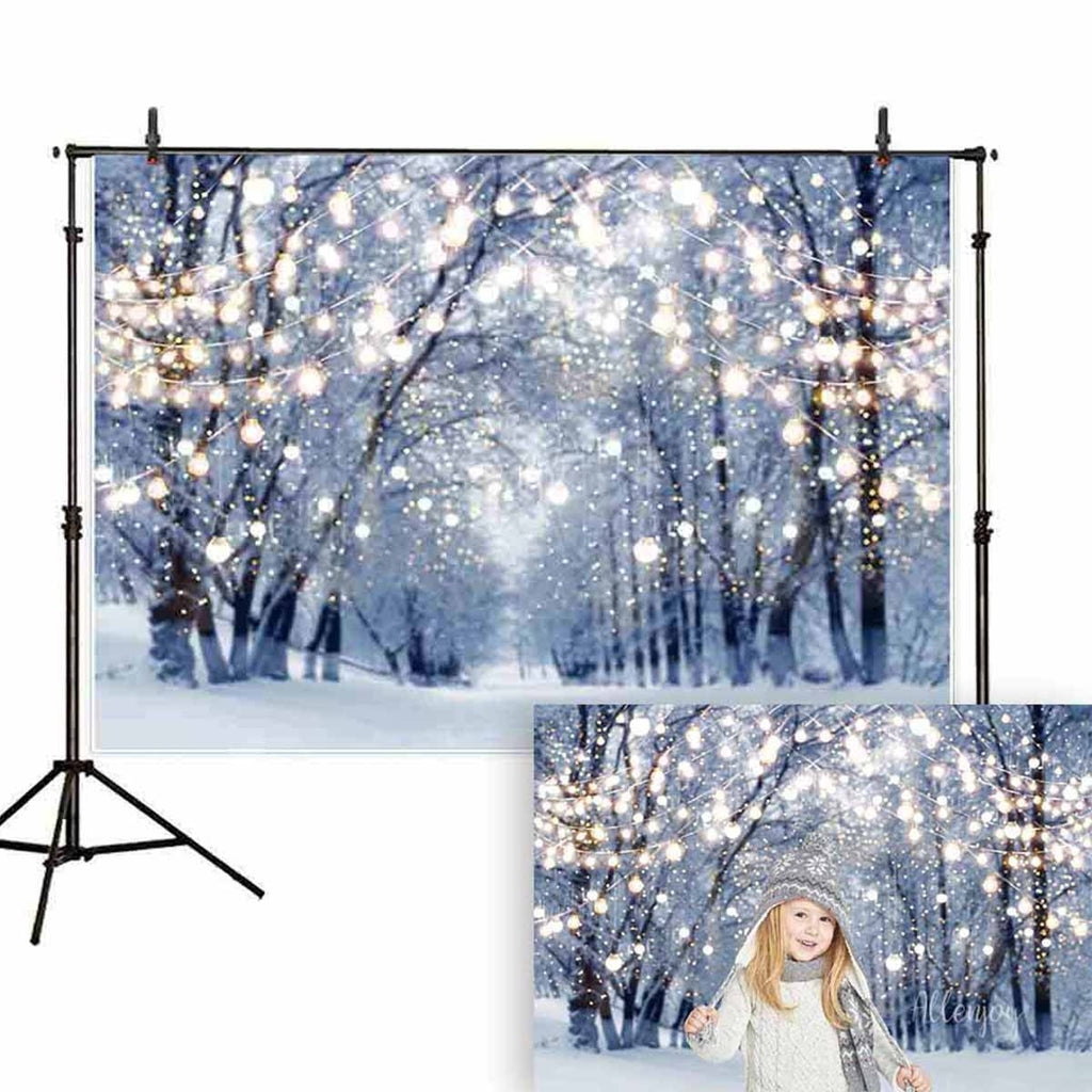 Christmas Snowflake Forest Backdrop HD Photography Background Cloth Photo Studio Props Decoration 5x3ft/7x5ft/8x6ft