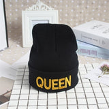 King Queen Beanie Winter Hats Cap Knitted Hiphop Hat Female Couple Warm Winter Cap