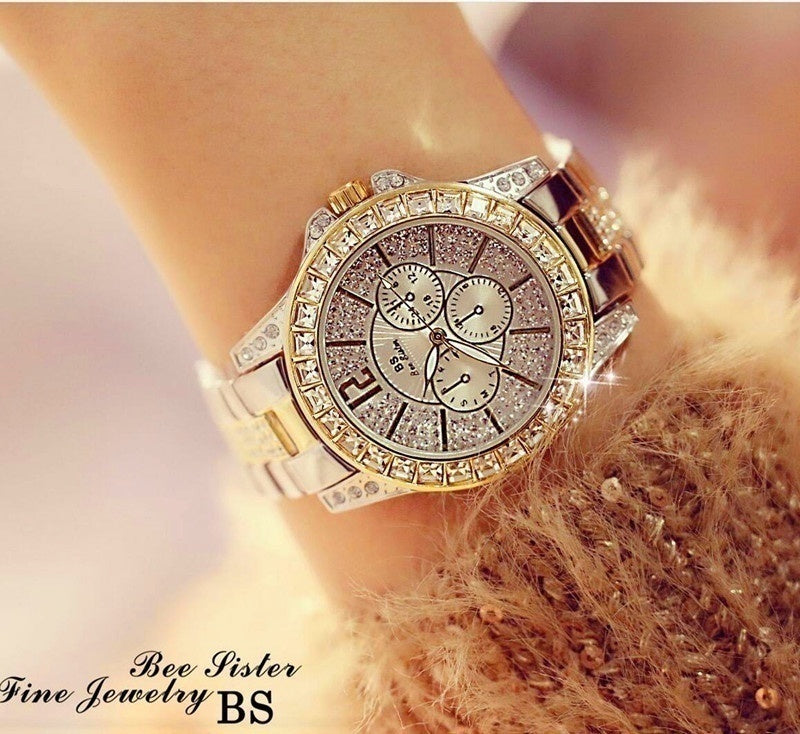 3COLORS New Women Quartz Watches Fashion Diamond Watch Rhinestone Diamond Casual Wristwatch for Ladies Silver Gold Watches