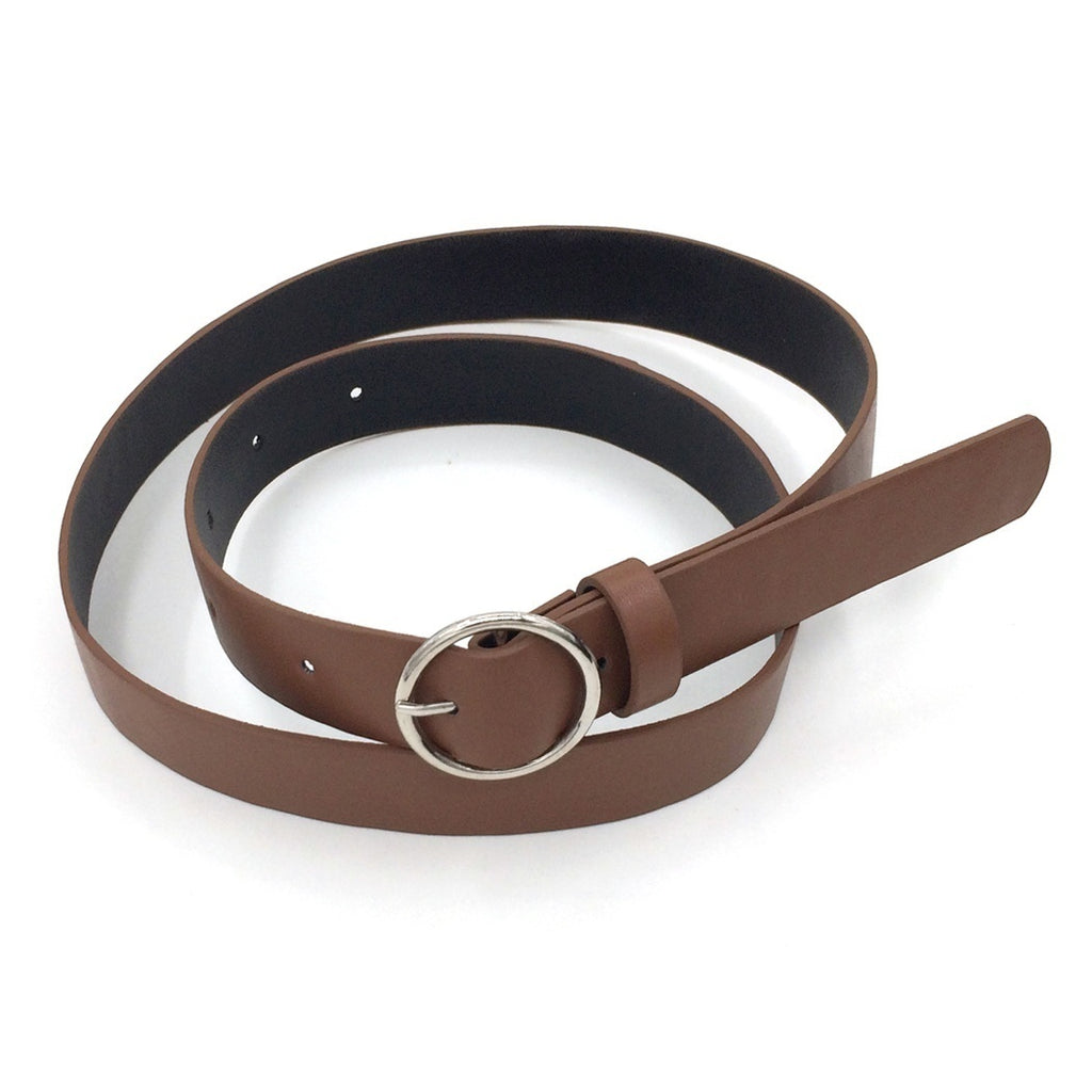 Women'S Fashion Pu Belt Casual Round Buckle Metal Pin Buckle Waistband
