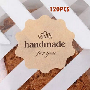 120PCS 'Handmade for You' Flower Design Kraft Paper Seal Sticker/Christmas DIY Note Gift Labels Retail