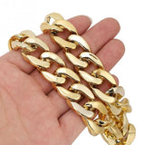 Gold Chain Dog Necklace Pet Collar Curb Link Stainless Steel