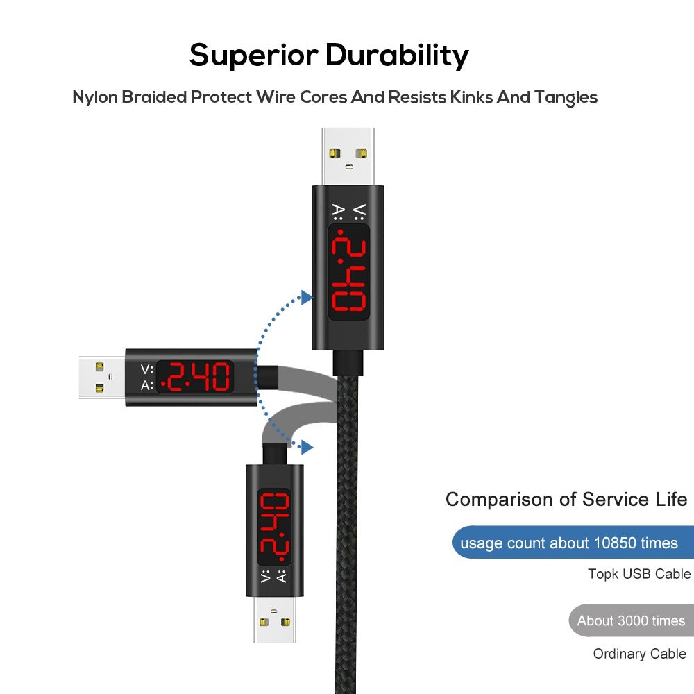 TOPK 3A(Max) Voltage and Current Display Nylon Braided Aluminum Casing Micro USB Cable For Samsung Xiaomi Huawei HTC