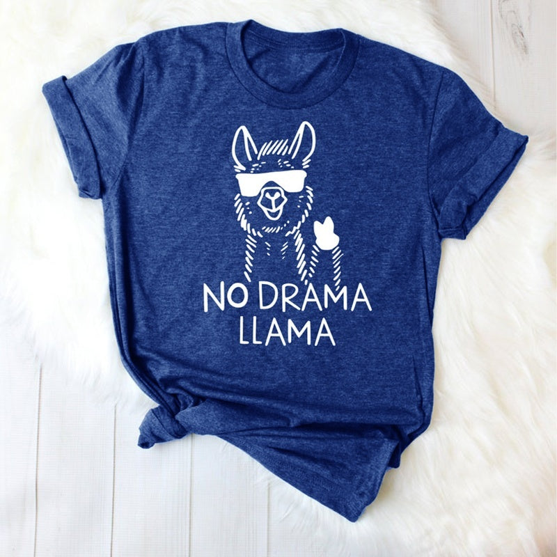 5 Color Women Summer Fashion Funny Llama T-shirt NO DRAMA LLAMA Letter Print Tee New Design Short Sleeve T-shirt O-neck Cotton Funny Llama Graphic Tops Ladies Casual Loose Letter Print Tops Boho Brief Pullover Top Plus Size S-5XL