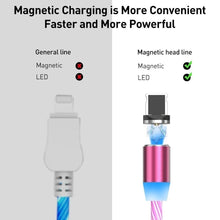 Load image into Gallery viewer, 3Color Rainbow Fluid Led Light Magnetic Charger Cable Flowing 2.4A Fast Charging Magnet Micro USB Type C Lightning Cable For iPhone Samsung OPPO VIVO Huawei LED Magnetic Wire Cord