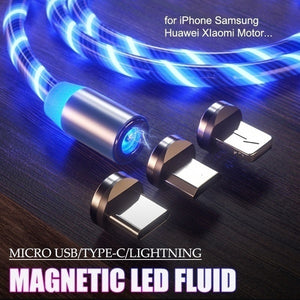 3Color Rainbow Fluid Led Light Magnetic Charger Cable Flowing 2.4A Fast Charging Magnet Micro USB Type C Lightning Cable For iPhone Samsung OPPO VIVO Huawei LED Magnetic Wire Cord