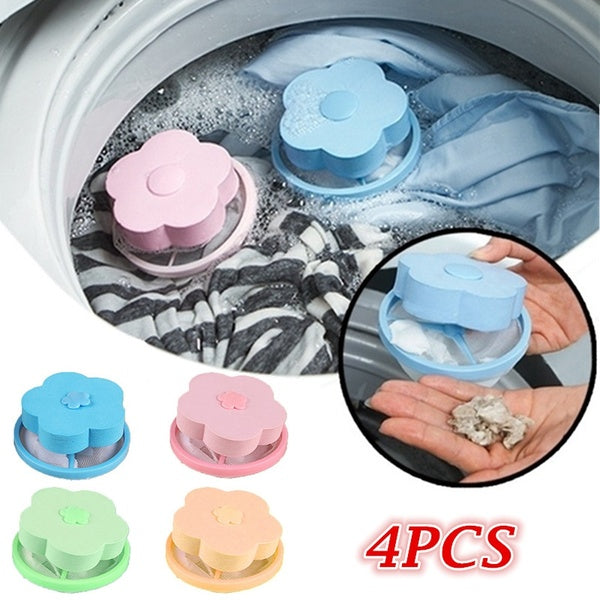 4PCS/2PCS Washing Machine Lint Filter Bags Laundry Reusable Hair Catcher Home Floating Lint Mesh Pouch