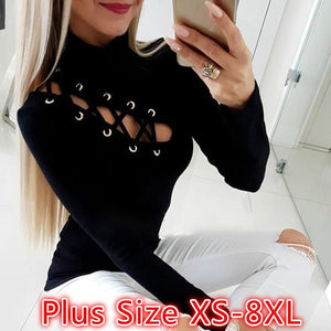 Women Lace-Up Hollow Out Long Sleeves T-Shirt Blouse Tops Plus Size XS-8XL