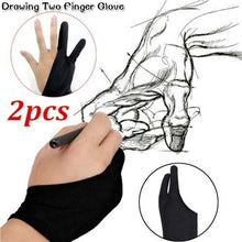 Load image into Gallery viewer, 2pcs Professional Artist Drawing Two Finger Anti-fouling Glove for Graphic Tablet Light Pad