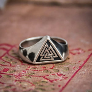 316L Stainless Steel Viking Valknut Triangle Symbol Ring for Men Nordic Runes Protection Amulet Rings Viking Jewelry