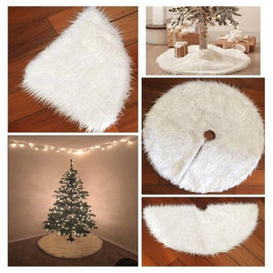 NEW Christmas Plush Skirt Pure White Long Haired Christmas Tree Skirt