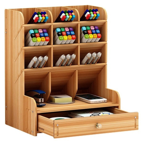 Office Desk Organizer Desktop Pen Pencil Holder Container Storage Box Portable with Drawer