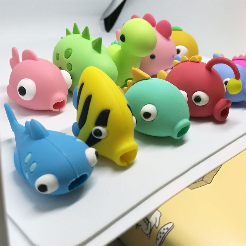 1 Pcs New Style Animal Cable Protector Cartoons Fish Dragon Doll Animal Bites Protector for Phone