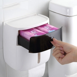 NEW Wall-mounted Press-open Waterproof Double-deck Paper Towel Boxes Rolled Paper Towel Boxes Toilet Belts Drawers Shelves