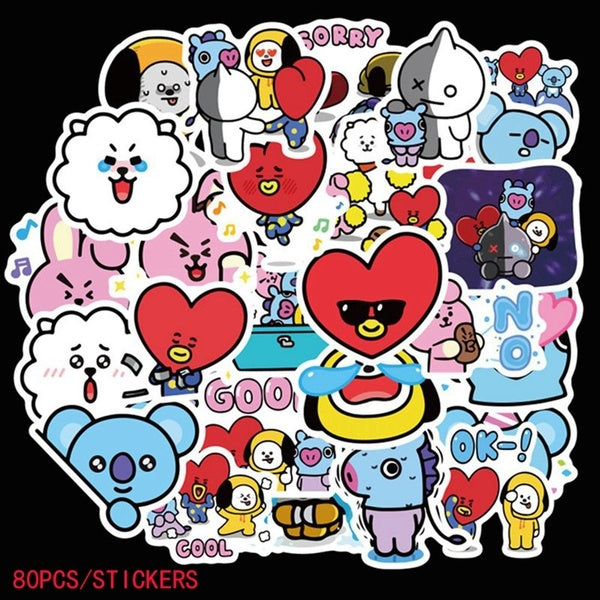 40Pcs/80Pcs Kpop Bts Bangtan Boys Bt21 Cartoon Graffiti Sticker J-Hope Rm Jung Kook Scrapbooking Decal Stickers Waterproof Sticker Luggage Stickers