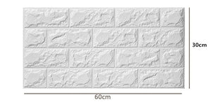 20PCS 3D Brick Pattern Wallpaper Wall Background Bedroom Living Room Decor Stickers  Size 60*30CM