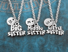 Load image into Gallery viewer, Personalized Family Necklace, Sisters Necklaces, Little Sister Necklace, Big Sister Necklace, Middle Sister Charm Necklace, Sister Pendant, Sisters Gift, Necklace Set