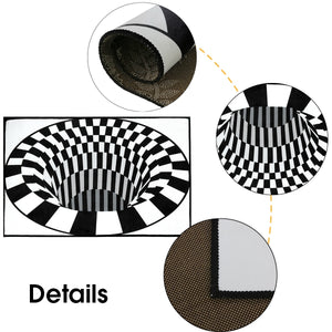 3D Carpets Luxury Rug White Black Abstract Geometric Optical Illusion Non Slip Bathroom Living Room Floor Mat Decoraiton Carpet For Living Room Bedroom Home Fashion Floor Mat Area 4 Sizes