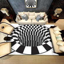 Load image into Gallery viewer, 3D Carpets Luxury Rug White Black Abstract Geometric Optical Illusion Non Slip Bathroom Living Room Floor Mat Decoraiton Carpet For Living Room Bedroom Home Fashion Floor Mat Area 4 Sizes