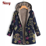Women Fashion Leaves Floral Print Fluffy Fur Hooded Long Sleeve Vintage Coats