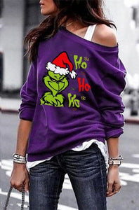 New Women's Fashion Grinch Christmas Shirt Ho Ho Ho Funny Xmas Shirt Graphic Blouses Tops Plus Size