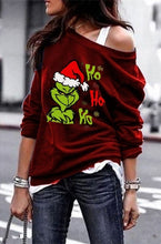 Load image into Gallery viewer, New Women's Fashion Grinch Christmas Shirt Ho Ho Ho Funny Xmas Shirt Graphic Blouses Tops Plus Size