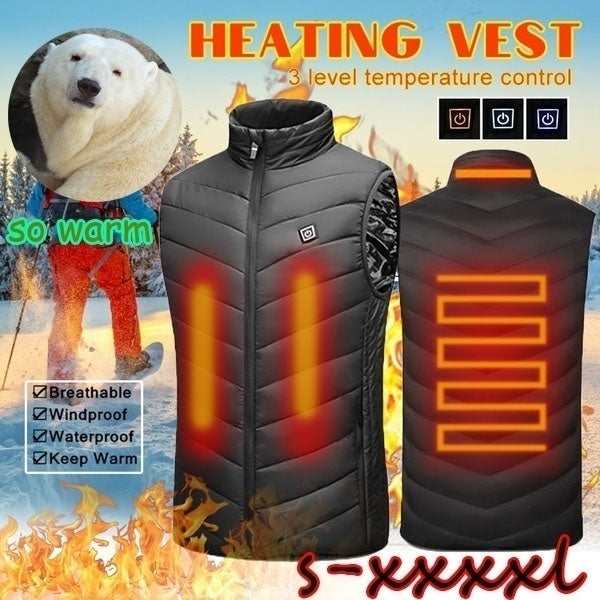2020 Upgraded Men Outdoor USB Infrared Heating Vest Jacket Winter Carbon Fiber Electric Thermal Clothing Waistcoat S-4XL