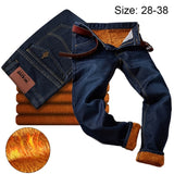 Warm Fleece Lined Jeans Mens High Quality Velvet Jean Trousers Autumn Winter Warm Soft Straight Jeans