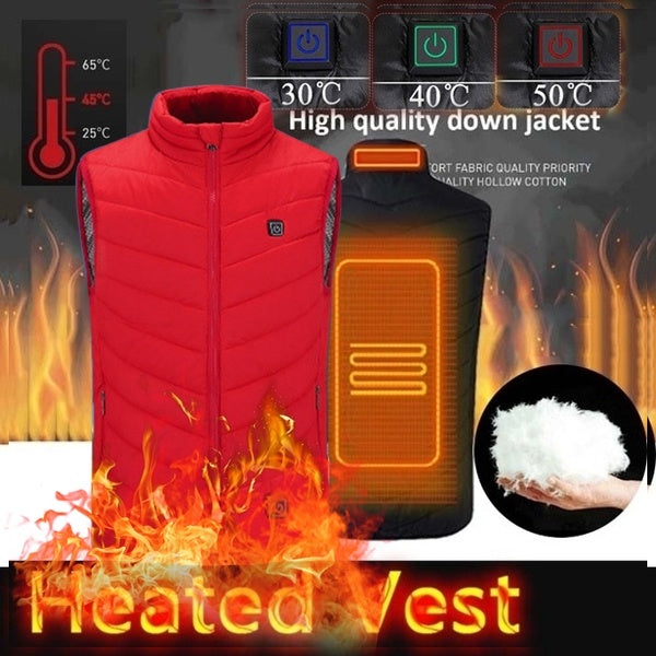 2020 New Light Smart Heating Vest Men's Winter Warm Down Heating Vest Mens Women Winter Warm Up Zipper Sleeveless Jacket Wind Resistant Vests XS-4XL