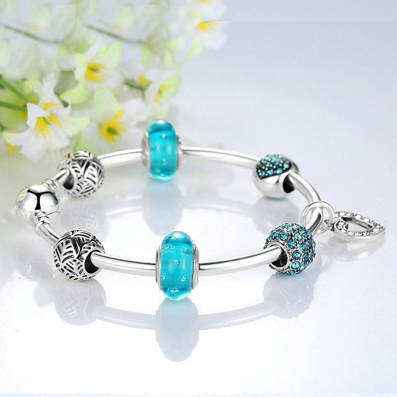 2019 Popular Jewelry Making Silver Plated Bracelet With Ocean European Style Charm