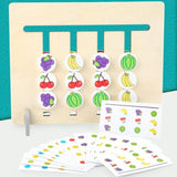 Funny Double-sided Color Fruit Matching Game Children Wooden Montessori Toys Logical Reasoning Training Kids Educational Toy Gift