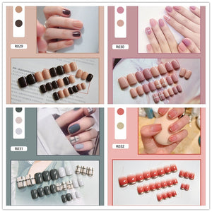 Fashion Fake Nails Finished Nail Patch Fake Nails Wearable Nails Stickers Waterproof 24 Pieces Boxed 021-040