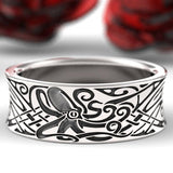 Engraved Octopus Norse Wedding Ring in 925 Sterling Silver, Octopus Ring, Octopus Jewelry, Octopus Wedding Rings