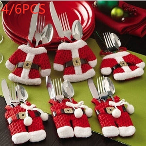 4/6Pcs Christmas Decorations Santa Claus Silverware Holders Pockets Dinner Decor High Quality