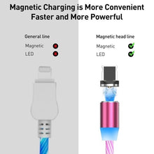 Load image into Gallery viewer, New Led Light Magnetic Charger Cable Flowing 3.5A Fast Charging Magnet Micro USB Type C Lightning Cable For iPhone Samsung OPPO VIVO Huawei LED Magnetic Wire Cord