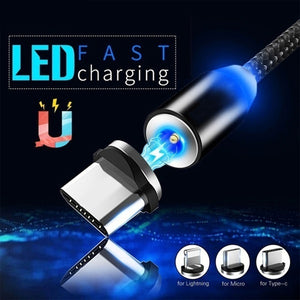 New Led Light Magnetic Charger Cable Flowing 3.5A Fast Charging Magnet Micro USB Type C Lightning Cable For iPhone Samsung OPPO VIVO Huawei LED Magnetic Wire Cord