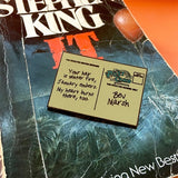 Movie Post Card Enamel Pin Stephen King It Brooch Pennywise Pin Clown Brooch The Losers Club Badge Movie Jewelry