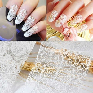 10/20Pcs Beauty DIY Art Tips Nail Art Decor Black White Nail Foil Set Starry Sky Nails Foil Sticker Transfer Paper Nail Art