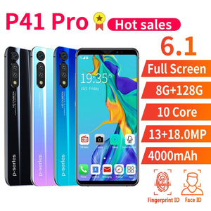 New Hot High Version P41 Pro 6.1 Inch Screen Android Phone 8GB+128GB Bluetooth Wifi 13MP+18 MP Camera Mobile Phone 10 Core 4G Smart Phone