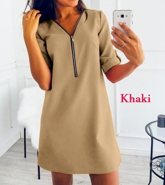 New Fashion Women V-neck Zipper Dress Short Sleeve Loose Casual Solid Color Dress
