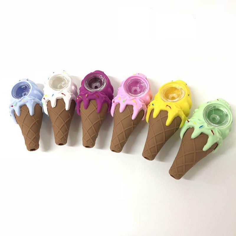 Fashion Creative Design Colorful Cartoon Silicone Glass Tobacco Pipe Smoking accessories Random Color