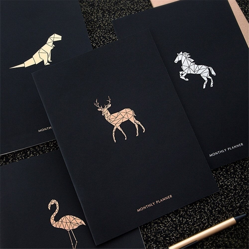 2020 Black Cover Calendar Notebook Journal A4 Agenda Organizer Weekly Monthly Schedule Planner Stationary Office School Supplies
