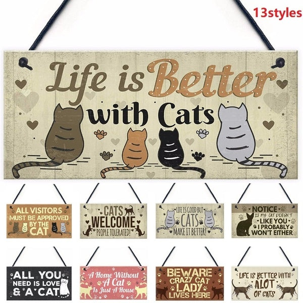 1Pcs Wooden Hanging Pendant Tags Cute Cat Pets Carved Door Tag Friendship Sign Cat Lovers