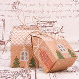 5pcs House Shape Christmas Candy Gift Bags With Ropes Xmas Tree Cookie Bags Merry Christmas Guests Packaging Boxes Party Decor