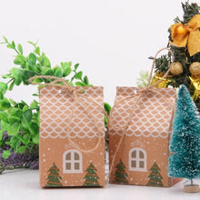 Load image into Gallery viewer, 5pcs House Shape Christmas Candy Gift Bags With Ropes Xmas Tree Cookie Bags Merry Christmas Guests Packaging Boxes Party Decor