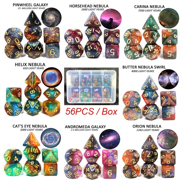 56Pcs/Box Amazing Galaxy Dice 8 Colors D&D Polyhedral Cube Board Game Christmas Gift Box