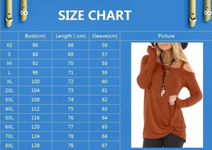 Womens Autumn Fashion Casual Loose Long Sleeved T-shirts Cold Shoulder Solid Color Blouses Tunic Tops Shirts