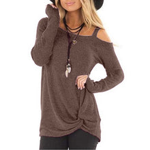 Load image into Gallery viewer, Womens Autumn Fashion Casual Loose Long Sleeved T-shirts Cold Shoulder Solid Color Blouses Tunic Tops Shirts